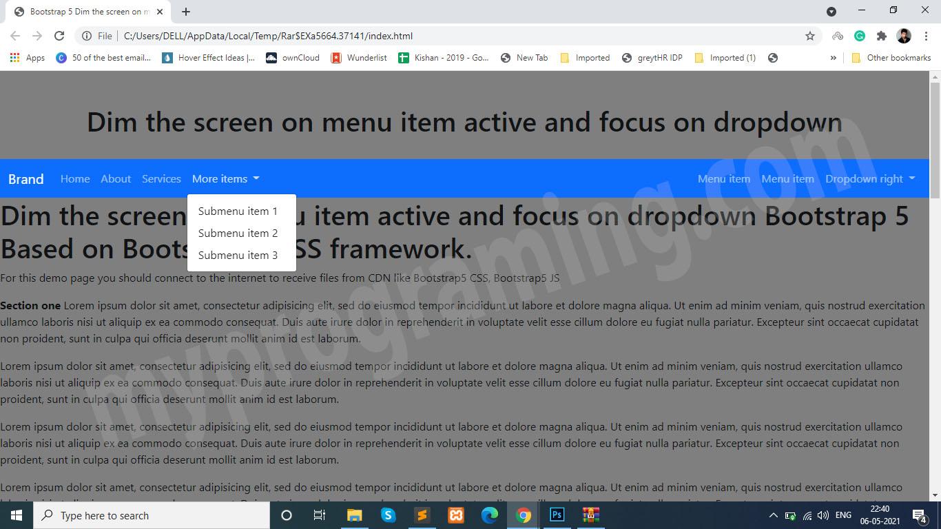 Dim the Screen on Menu item Active