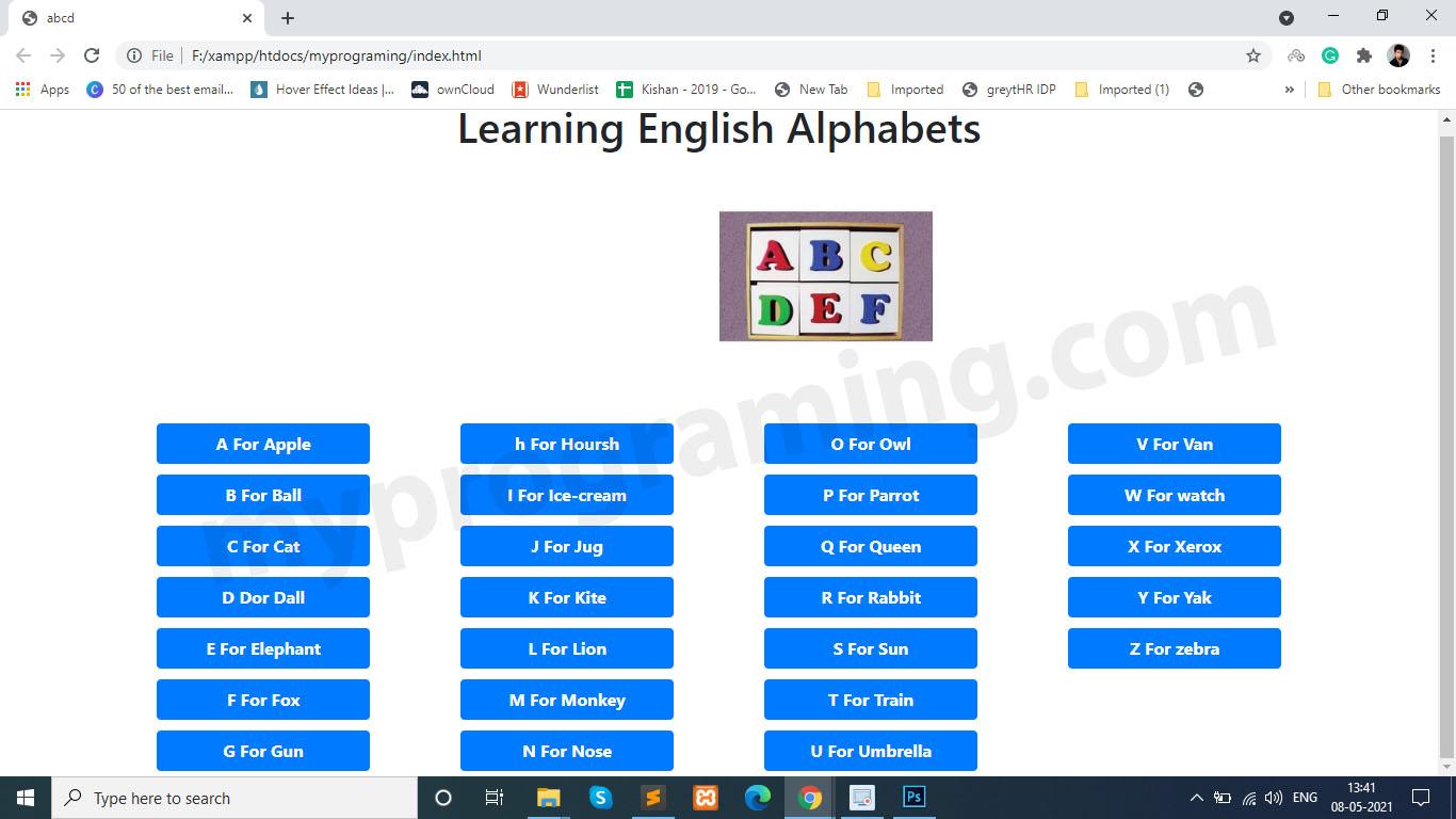 Alphabets with JavaScript