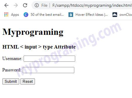 HTML input type Attribute