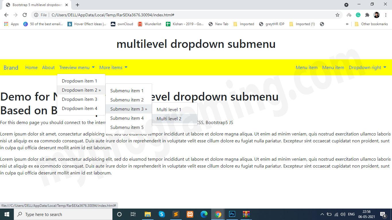 Multi-level Dropdown Menus